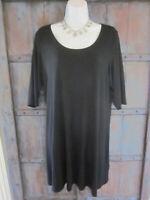 EILEEN FISHER Womens Size XL Viscose Jersey Short Sleeve Black Tunic Dress Top