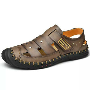 Mens Hollow Out Close Toe Summer Beach Sandals Slip On Casual Walking Shoes