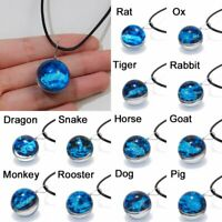 12 Chinese Zodiac Luminous Double-side Glass Pendant Necklace Glow In The Dark