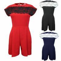 New Ladies Lace Playsuit Women Evening Party Dress Back Zip Jumpsuit Cape Sleeve