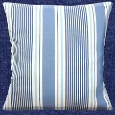 NEUF CLARKE & CLARKE coton rayé bleu nuances blanc cassé 40.6cm HOUSSE COUSSIN