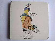 """VINTAGE CARTER """"CRIES OF LONDON"""" TILE - NEW MACKREL, NEW MACKREL c1955"""