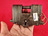 Antique Old Iron Unique Shape Solid padlock Rectangular lock  Original key TE-02