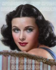 HEDY LAMARR SITTING ON A STRIPE SOFA BEAUTIFUL COLOR PHOTO BY CHIP SPRINGER