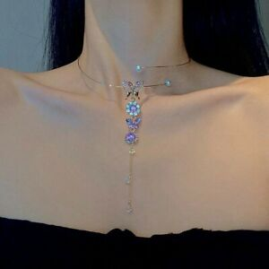 Fashion Crystal Butterfly Pendant Necklace Clavicle Women Wedding Jewelry Hot