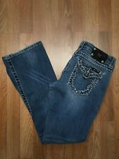 MISS ME WOMENS EASY BOOT CUT EMBELLISHED DENIM JEAN 28 x 31 Whiskering FADED