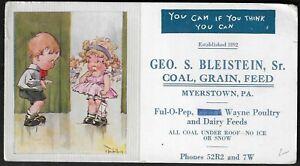 """1930 Myerstown,PA - Geo. Bleistein,Sr. Coal """"Helen Twelvetrees"""" Signed Blotter"""