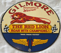VINTAGE GILMORE GASOLINE PORCELAIN SIGN GAS STATION PUMP PLATE RED LION OIL
