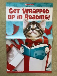 RARE Kitten & Puppy Scholastic Reading Club Poster! winter reading books cat dog