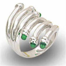 Emerald Cocktail White Gold Filled Fashion Rings