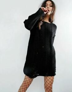 New Ladies Ex ASOS Black Jumper Dress In Cable And Ladder Stitch RRP £32