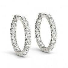 3/4 Inch White Gold Hoop Huggie Earrings 3.60 Ct 3.5 mm Diamonds 14k white gold