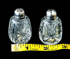 """Salt and Pepper Shakers Antique Pressed Glass Sterling 1 7/8"""" Starburst English"""