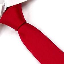 D.berite Men's Dark Red Wedding Groom Solid  Skinny Silk Tie Slim Necktie SK02