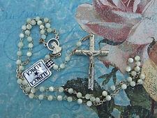 Catholic ROSARY Dainty Pearl Beads Alpaca Silver nice Crucifix & center medal