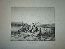 GRANDE Litho CHASSE à TIR MOUETTES ETANG MARAIS GIBIER 1830 GULLS HUNTING JAGD