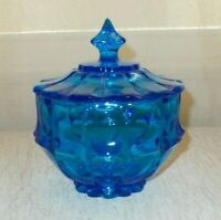 VINTAGE COLONIAL BLUE ART GLASS COVERED CANDY/COMPOTE (B15)