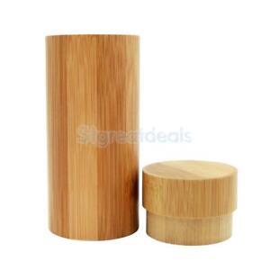 Sunglasses Glasses Box Cylindrical Hard Case 100% Natural Bamboo Wood Case
