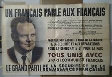 AFFICHE ORIGINALE ANCIENNE PARTI COMMUNISTE UN FRANCAIS PARLE AUX FRANCAIS