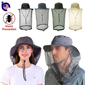 Men Women Mosquito Head Face Net Hat Boonie Hat Sun Cap Hidden Mesh Protection
