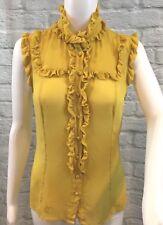 Derek Lam Italy 100% Silk Mustard Gold Ruffled Front Sleeveless Blouse Sz S 2/4