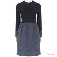 The Row Ash Blue Midnight Navy Contrasting Fabric Tweed Jacquard Dress US6 UK10
