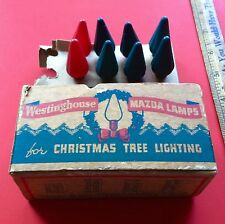 Vintage 1930's Mazda C6 C-6 Flame Style Christmas Light Bulbs Westinghouse Works