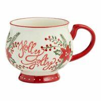 New World Market Footed Holly Jolly Christmas Coffee Mug Tea Cup Large 16 oz