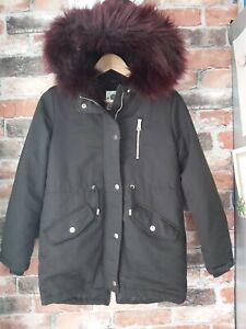 F& F @ TESCO GIRLS BLACK WINTER FUR HOODED PARKA COAT SIZE 11-12 YRS