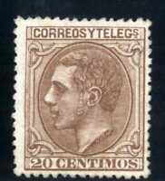 Sellos de España Alfonso XII 1879 nº 203 20 c. castaño rojizo  Nuevo rf. A1