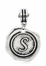 Letter S Wax Stamp Alphabet Initial Dangle Charm for European Bead Bracelets