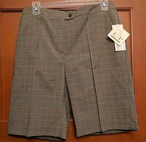 EP Pro Women's Size 6 Cognac Biltmore Brown/Black Plaid Golf Shorts $69 NWT