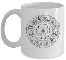Zodiac coffee mug - Horoscope archaic wheel star cup - Constellation gift
