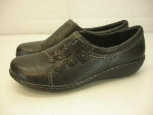 Women's 8 W Wide Clarks Ashland Effie Slip-On Loafers Shoes Black Leather Wedge