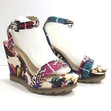 Bronx US 9.5 Leather Wedge Platform Sandals Floral See Chart