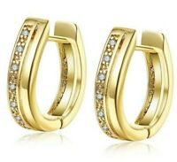 2.0 CT Pave Princess Hoop Huggie Earrings with Swarovski Crystals-18K Gold ITALY