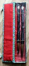 2 Large Vintage Chinese Calligraphy Brushes Writing Instruments with Silk Box