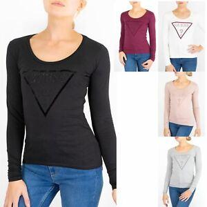 Womens Guess T-shirt Classic Sequin Logo Long Sleeve Design Girls Scoop Neck