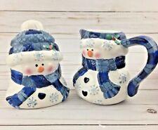 Snowman Creamer & Sugar Bowl Christmas Holiday Winter Blue & White