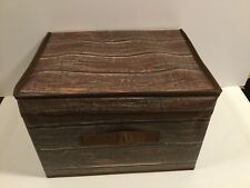 STORAGE BOX ORGANIZER BOX FORDABLE POLYESTER CANVAS BROWN WOOD PRINT