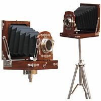 Antique Decorative Folding tripod Photography Vintage wood Camera Decor Replica