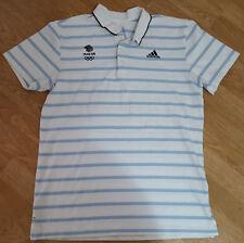 Adidas Team GB Olympics Polo T Shirt Tee Top White Striped Size M