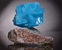 Copperboussingaultite blue like apatite crystal on matrix from Poland specimen
