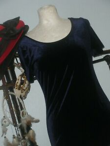 LAURA ASHLEY VINTAGE DRESS 14/VELVET 1930 STYLED NAVY