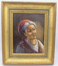 Signed framed G. Fraia oil painting canvas portrait study woman