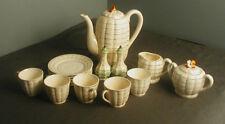 19 PCS OF VINTAGE TEA SET - BASKET WEAVE STYLE - JAPAN - TEA POT, CUPS, ETC - lk