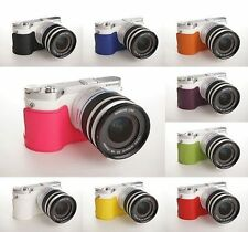 Fatto a mano vera pelle metà caso Fotocamera Borsa Custodia per Samsung NX300M 10 COLORI