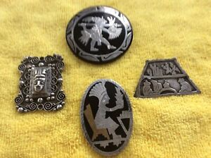 Sterling Silver Aztec Mayan Type Pins, Pendent