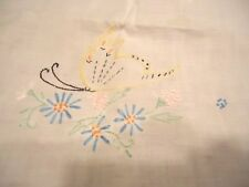 "Vtg 60"" L x 18""w White Oval Table Runner Butterfly Embroidery Crochet Lace Edge"