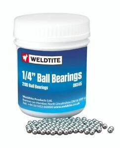 Weldtite 1/4-inch British Made Case Hardened Ball Bearings, Silver, 200 Pieces